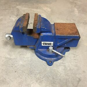 Central Forge Bench Vice Vise Anvil Swivel Base Took Blacksmith 3 Jaws Blue