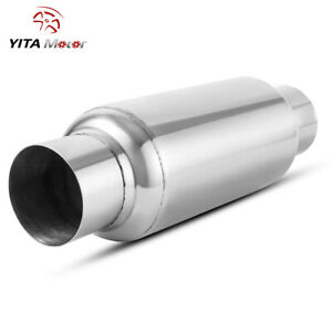 Yitamotor Stainless Steel Muffler 3 Inlet Outlet Fiberglass Straight Resonator