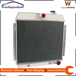4 Row Aluminum Radiator For 1955 1956 1957 Chevy Bel air Nomad L6 V8 Engine