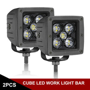 2x 3inch Cree Led Cube Pods Work Light Bar Spot Beam Driving Fog Offroad 4wd Suv