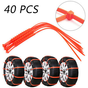 40pcs Snow Tire Chains Anti Skid Belt Fit For Car Truck Emergency Winter Briving