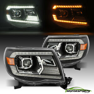 For 2005 2011 Toyota Tacoma Black Projector Headlights Headlamps Left Right Set
