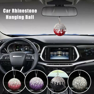 Car Rear View Mirror Pendant Crystal Ornament Bling Hanging Ball Car Accessories