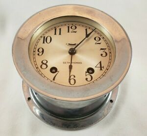 Vintage Seth Thomas Nickel Plated Ships Bell 4 Ship Clock