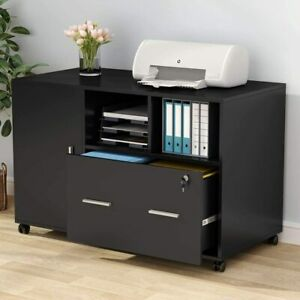 Modern Mobile Lateral Filing Cabinet Office Printer Stand With Wheels And Drawer