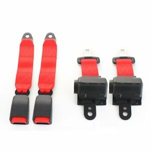 2x Safety Belt 2 Point Buckle Clip Retractable Seatbelt Red Retractable Auto