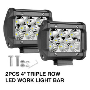 2x 4inch 200w Led Cube Work Light Pods Tri Row Spot Flood Offroad Driving 6000k