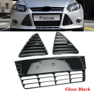 Fit For Ford Focus 2012 14 Black Front Bumper Lower Grille Cover Grill Set Of 3