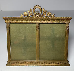 Antique French Bronze Double Picture Frame 19th Century Easel Back