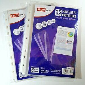 2 Packs Of Rubex 25 Count 5 5 x 8 5 Mini Clear Heavy Weight Sheet Protectors