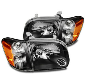 For 2005 2006 Toyota Tundra Double Cab sequoia Black Replacement Headlight Lamp