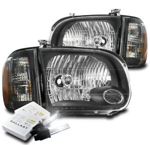 For 2005 2006 Toyota Tundra Double Cab sequoia Black Headlight Lamp W 6000k Hid