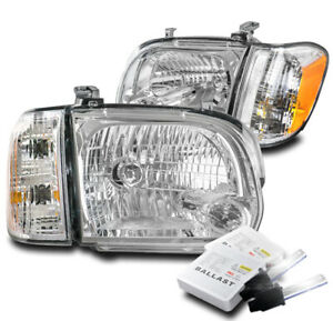 For 2005 2006 Toyota Tundra Double Cab sequoia Chrome Headlight Lamp W 6000k Hid