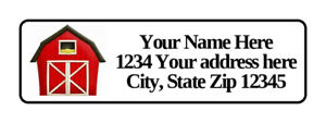 400 Red Barn Personalized Return Address Labels 1 2 Inch By 1 3 4 Inch