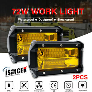 5 Led Work Light Offroad Pod Lights Yellow Driving Fog Lamps Trucks Atv Utv Us