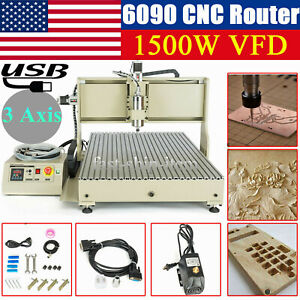Usb 3 Axis 6090 Cnc Engraver Router Metal Wood Cutting Mill Drill Machine 1 5kw