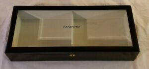 Original Black Wood Pandora Hinged Glass Top Jewelry Display Case Nice