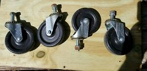 Lot Of 4 Wheels Swivel Stem Casters Approx 4 Dia X 7 8 Wide Light Duty Bin26