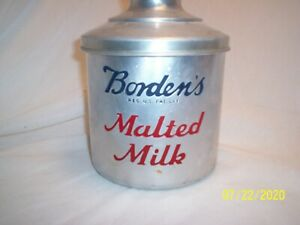 Vintage Bordens Malted Milk container w/lid
