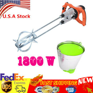 2 speed Electric Mortar Mixer For Stirring Paint Cement Grout Concrete 1800w Usa