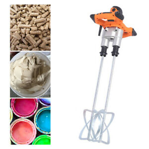 Handheld Electric Mortar Mixer 1800w 2 Speed Paint Cement Grout With 2 Paddles