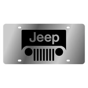 Eurosport Daytona Mopar Polished License Plate W Black New Jeep Grill Logo