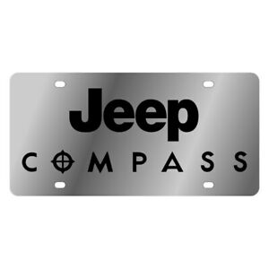Eurosport Daytona Mopar Polished License Plate W Black Jeep Compass Logo