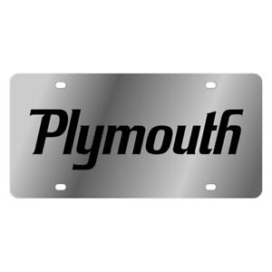 Eurosport Daytona 1436 1 Mopar Polished License Plate W Black Plymouth Logo