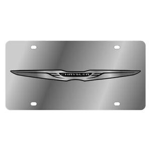 Eurosport Daytona Mopar Polished License Plate W Black Chrysler New Logo