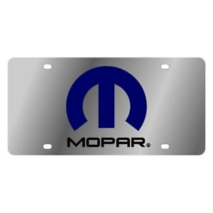 Eurosport Daytona 1424 1 Mopar Polished License Plate W Black Mopar Logo