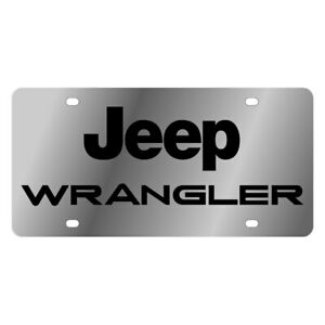 Eurosport Daytona 1423 1 Mopar Polished License Plate W Black Wrangler Logo