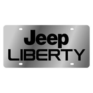 Eurosport Daytona Mopar Polished License Plate W Black Jeep Liberty Logo