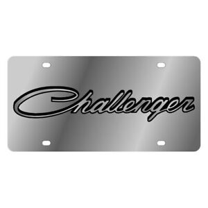 Eurosport Daytona 1437 1 Mopar Polished License Plate W Black Challenger Logo