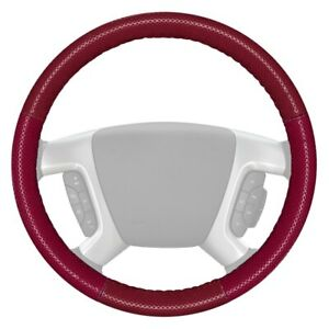 Europerf Perforated Burgundy Steering Wheel Cover W Burgundy Sides Color
