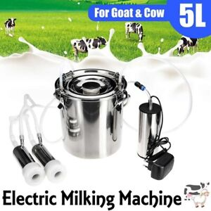 5l Electric Milking Machine Vacuum Impulse Pump Stainless Steel Cow Milker