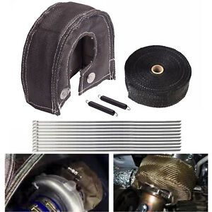 Turbo Heat Shield Blanket Cover T4 2 50ft Exhaust Header Wrap Tape Black