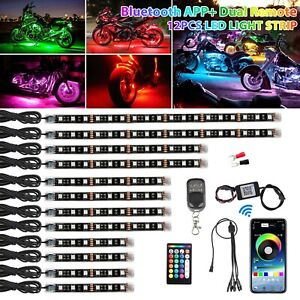 12pcs Rgb Bluetooth Motorcycle Led Light Under Glow Neon Strip App Control Kit