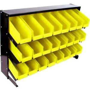 Table Top Parts Rack 24 Removable Bins Storage Container Hardware Nuts Bolts