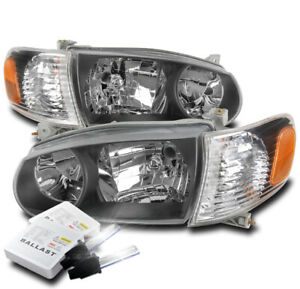 For 2001 2002 Toyota Corolla Black Replacement Headlight Lamp 6000k Hid Kit New