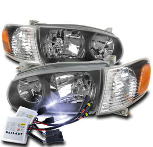 For 2001 2002 Toyota Corolla Black Replacement Headlights Lamps W 10000k Hid Set