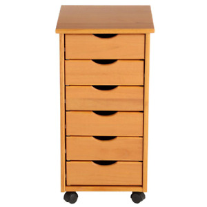 Filing Cabinet Mobile Storage Cart Legal 6 Drawers Wood Home Office Furniture