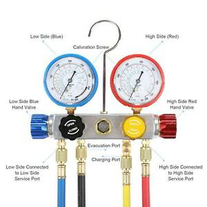 4 Way Manifold Gauge Set R410 R22 R134a Professional Ac hvac 4 Hose Set Tool