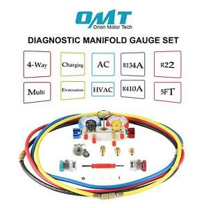 4 Way Ac hvac Diagnostic Manifold Gauge 4 Hose Set R410 R22 R134a Professional
