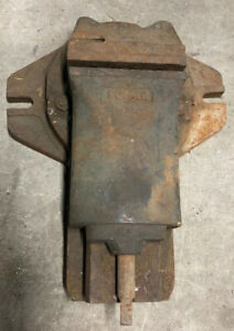 Vintage Machinist Ruckle Vise With Rotating Base 6 Jaw Heavy Weight 100lbs Used