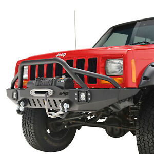 Fit For 84 01 Jeep Cherokee Xj Off road Front Bumper With Led Lights