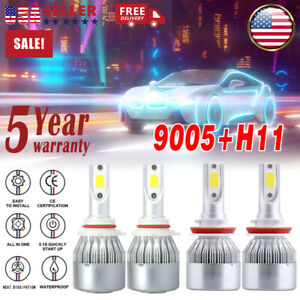 Mylight 4pcs Combo 9005 H11 Led Headlight Kit High Low Beam Bulb Fog Light White