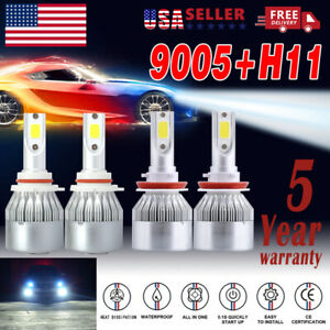 2 Pair 9005 H11 Combo Led Headlight Kit Hi Lo Beam Bulb Fog Light 6000k White Us
