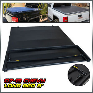 For 2007 2013 Chevy gmc Silverado 8 Truck Bed Vinyl Soft 4 fold Tonneau Cover
