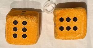 Neon Orange Fuzzy Car Dice 2 5 X 2
