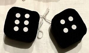 Black Fuzzy Car Dice 2 X 2 5